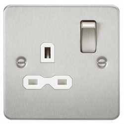 Knightsbridge Flat Plate Brushed Chrome 13A 1 Gang DP Switched Socket - White Insert