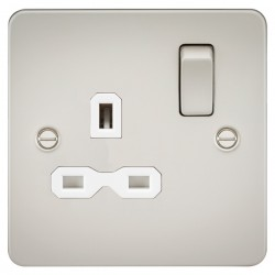 Knightsbridge Flat Plate Pearl 13A 1 Gang DP Switched Socket - White Insert