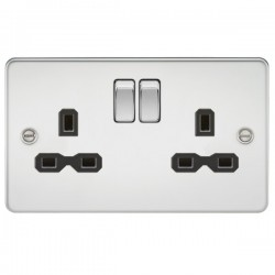 Knightsbridge Flat Plate Polished Chrome 13A 2 Gang DP Switched Socket - Black Insert