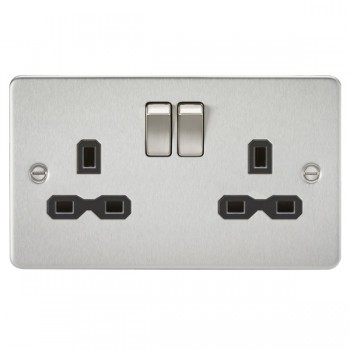 Knightsbridge Flat Plate Brushed Chrome 13A 2 Gang DP Switched Socket - Black Insert