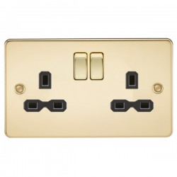 Knightsbridge Flat Plate Polished Brass 13A 2 Gang DP Switched Socket - Black Insert