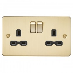Knightsbridge Flat Plate Brushed Brass 13A 2 Gang DP Switched Socket - Black Insert