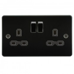 Knightsbridge Flat Plate Gunmetal 13A 2 Gang DP Switched Socket - Black Insert