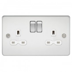 Knightsbridge Flat Plate Polished Chrome 13A 2 Gang DP Switched Socket - White Insert