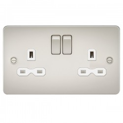 Knightsbridge Flat Plate Pearl 13A 2 Gang DP Switched Socket - White Insert