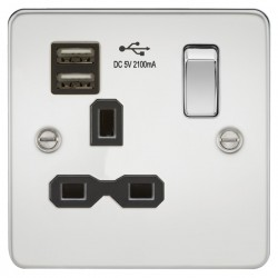 Knightsbridge Flat Plate Polished Chrome 13A 1 Gang Switched Socket with Dual USB Charger - Black Insert