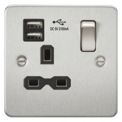 Knightsbridge Flat Plate Brushed Chrome 13A 1 Gang Switched Socket with Dual USB Charger - Black Insert