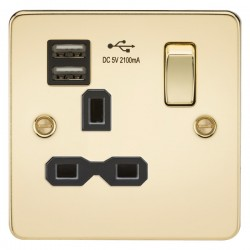 Knightsbridge Flat Plate Polished Brass 13A 1 Gang Switched Socket with Dual USB Charger - Black Insert