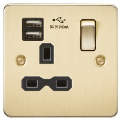 Knightsbridge Flat Plate Brushed Brass 13A 1 Gang Switched Socket with Dual USB Charger - Black Insert