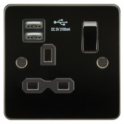 Knightsbridge Flat Plate Gunmetal 13A 1 Gang Switched Socket with Dual USB Charger - Black Insert