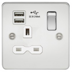 Knightsbridge Flat Plate Polished Chrome 13A 1 Gang Switched Socket with Dual USB Charger - White Insert