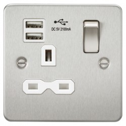 Knightsbridge Flat Plate Brushed Chrome 13A 1 Gang Switched Socket with Dual USB Charger - White Insert