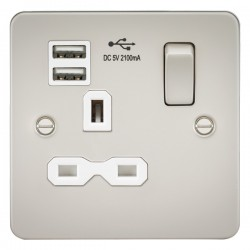 Knightsbridge Flat Plate Pearl 13A 1 Gang Switched Socket with Dual USB Charger - White Insert