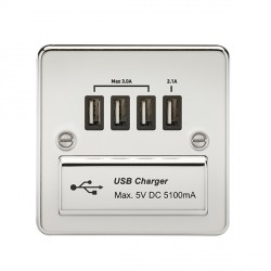 Knightsbridge Flat Plate Polished Chrome 1 Gang Quad USB Charger Outlet - Black Insert