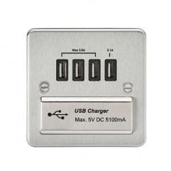 Knightsbridge Flat Plate Brushed Chrome 1 Gang Quad USB Charger Outlet - Black Insert