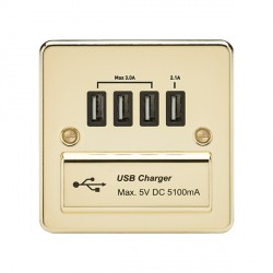 Knightsbridge Flat Plate Polished Brass 1 Gang Quad USB Charger Outlet - Black Insert