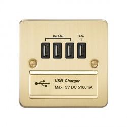 Knightsbridge Flat Plate Brushed Brass 1 Gang Quad USB Charger Outlet - Black Insert