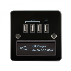 Knightsbridge Flat Plate Gunmetal 1 Gang Quad USB Charger Outlet - Black Insert