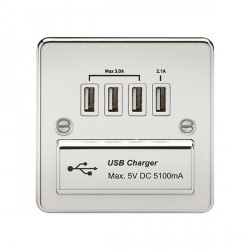 Knightsbridge Flat Plate Polished Chrome 1 Gang Quad USB Charger Outlet - White Insert