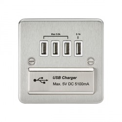 Knightsbridge Flat Plate Brushed Chrome 1 Gang Quad USB Charger Outlet - White Insert
