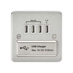 Knightsbridge Flat Plate Brushed Chrome 1 Gang Quad USB Charger Outlet - White Insert