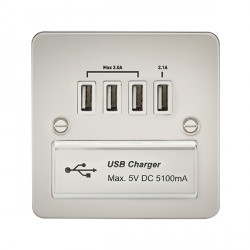 Knightsbridge Flat Plate Pearl 1 Gang Quad USB Charger Outlet - White Insert