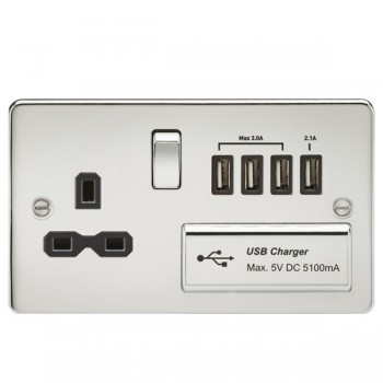 Knightsbridge Flat Plate Polished Chrome 13A Switched Socket with Quad USB Charger - Black Insert