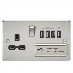 Knightsbridge Flat Plate Brushed Chrome 13A Switched Socket with Quad USB Charger - Black Insert