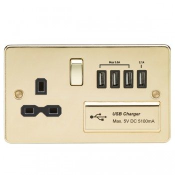 Knightsbridge Flat Plate Polished Brass 13A Switched Socket with Quad USB Charger - Black Insert