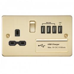 Knightsbridge Flat Plate Brushed Brass 13A Switched Socket with Quad USB Charger - Black Insert