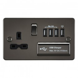 Knightsbridge Flat Plate Gunmetal 13A Switched Socket with Quad USB Charger - Black Insert