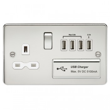Knightsbridge Flat Plate Polished Chrome 13A Switched Socket with Quad USB Charger - White Insert