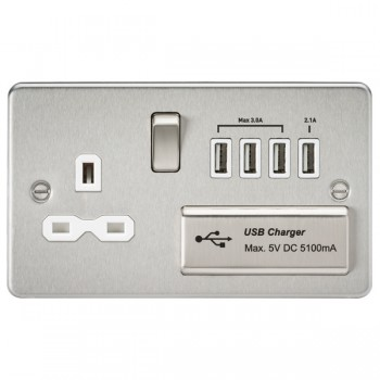 Knightsbridge Flat Plate Brushed Chrome 13A Switched Socket with Quad USB Charger - White Insert