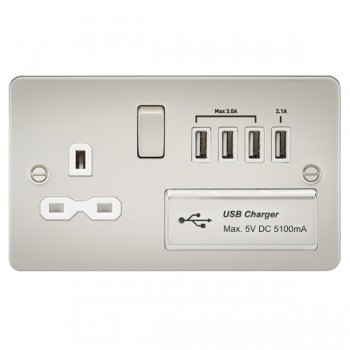 Knightsbridge Flat Plate Pearl 13A Switched Socket with Quad USB Charger - White Insert