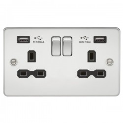 Knightsbridge Flat Plate Polished Chrome 2 Gang 13A Switched Socket with Dual USB Charger - Black Insert