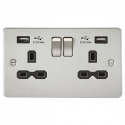 Knightsbridge Flat Plate Brushed Chrome 2 Gang 13A Switched Socket with Dual USB Charger - Black Insert