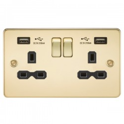 Knightsbridge Flat Plate Polished Brass 2 Gang 13A Switched Socket with Dual USB Charger - Black Insert