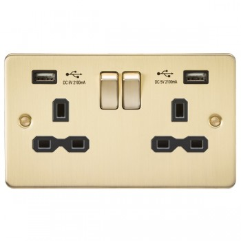 Knightsbridge Flat Plate Brushed Brass 2 Gang 13A Switched Socket with Dual USB Charger - Black Insert
