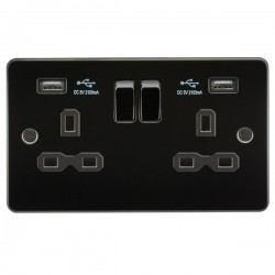 Knightsbridge Flat Plate Gunmetal 2 Gang 13A Switched Socket with Dual USB Charger - Black Insert