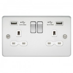 Knightsbridge Flat Plate Polished Chrome 2 Gang 13A Switched Socket with Dual USB Charger - White Insert