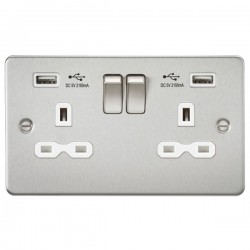 Knightsbridge Flat Plate Brushed Chrome 2 Gang 13A Switched Socket with Dual USB Charger - White Insert