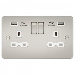 Knightsbridge Flat Plate Pearl 2 Gang 13A Switched Socket with Dual USB Charger - White Insert