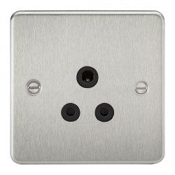 Knightsbridge Flat Plate Brushed Chrome 5A Unswitched Round Pin Socket - Black Insert