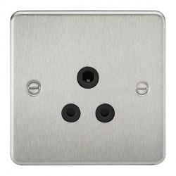 Knightsbridge Flat Plate Brushed Chrome 5A Unswitched Round Pin Socket - Black Insert