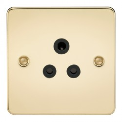 Knightsbridge Flat Plate Polished Brass 5A Unswitched Round Pin Socket - Black Insert