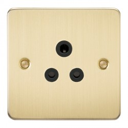 Knightsbridge Flat Plate Brushed Brass 5A Unswitched Round Pin Socket - Black Insert