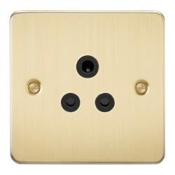 Knightsbridge Flat Plate Brushed Brass 5A Unswitched Round Pin Socket - Black Insert