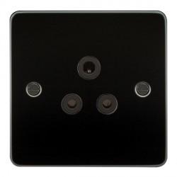 Knightsbridge Flat Plate Gunmetal 5A Unswitched Round Pin Socket - Black Insert