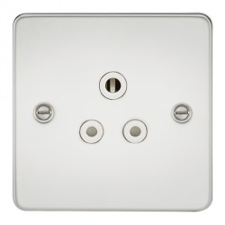 Knightsbridge Flat Plate Polished Chrome 5A Unswitched Round Pin Socket - White Insert