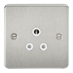 Knightsbridge Flat Plate Brushed Chrome 5A Unswitched Round Pin Socket - White Insert